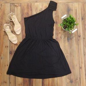 Express black cocktail dress, one shoulder